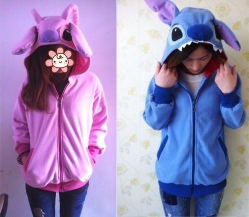 Women Stitch Hoodie Coat Jumper Hooded Sweater Pokemon Cosplay Kigurumi Costume