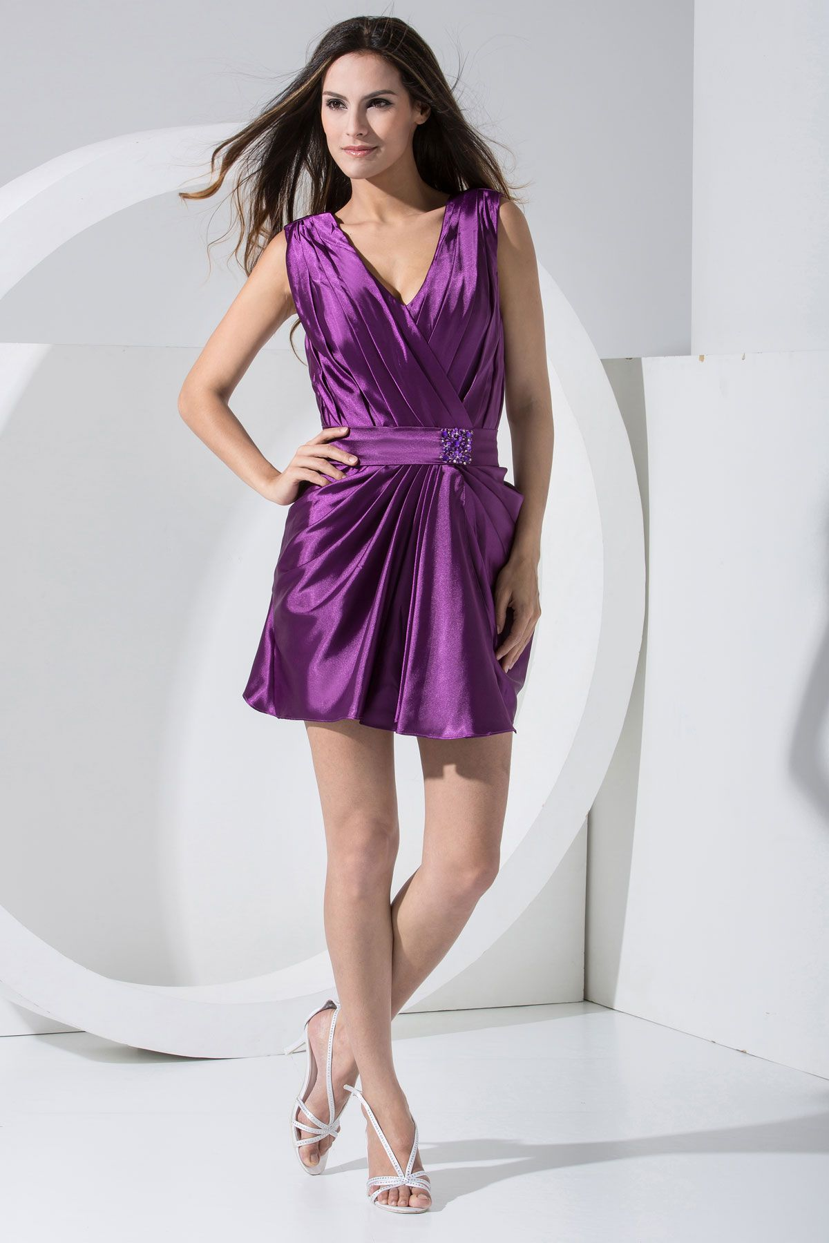 Grape Short V-neck Taffeta High Covered Cocktail Dress | Cocktail ...