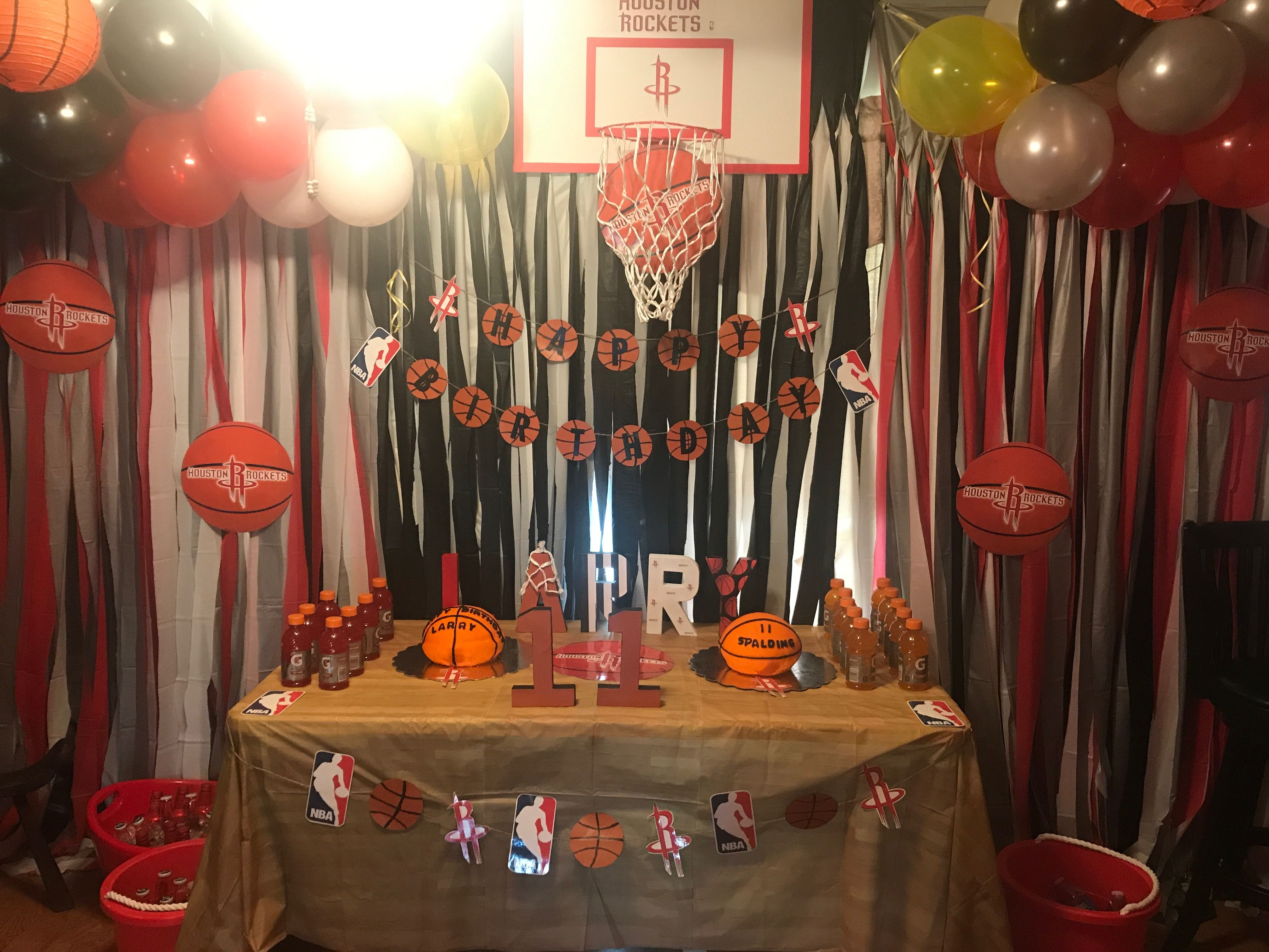 Houston Rockets Basketball Theme Birthday Party Basketball Theme Birthday Rocket Birthday Parties Rocket Party