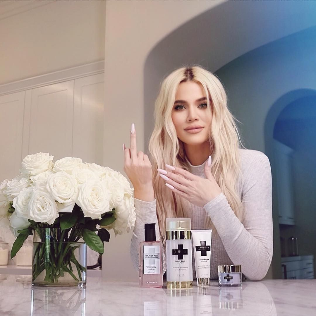 """Khloé on Instagram: """"#ad So Mom gave the finger to dry hands with @handmdskincare last month and you know what? She finally got something right!…lol. But…"""" #khloekardashian"""