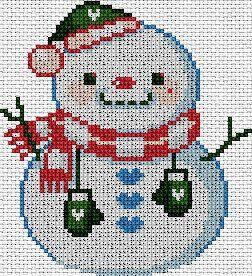 Muñeco de nieve en punto de cruz www.nacaranta.com