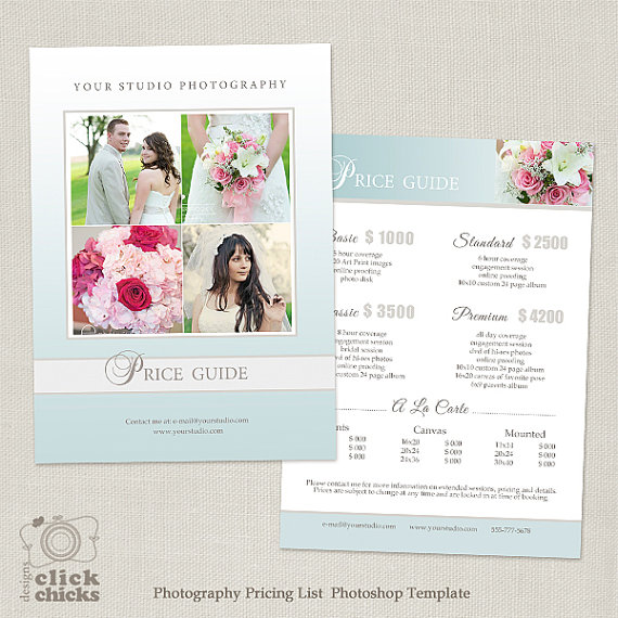 Wedding Photography Package Pricing List Template - Photography - price sheet template