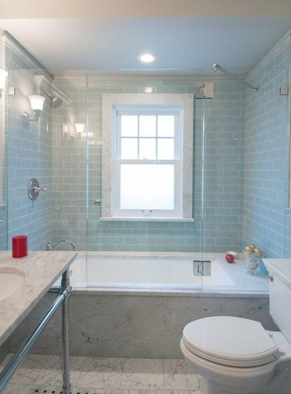 Traditional Full Bathroom with frameless showerdoor, tiled wall showerbath, Wall…
