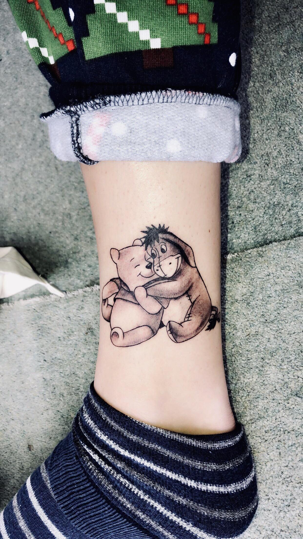 Sweet little WinniethePooh tattoo done by Jon @ Atomic tattoos, Oxford   tattoos is part of Winnie the pooh tattoos -