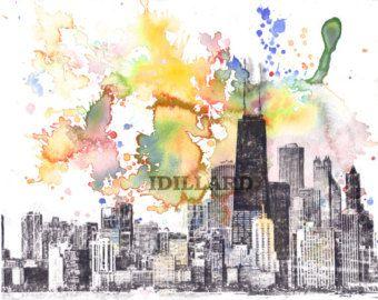 Chicago Cityscape Skyline Landscape Art Print From by idillard