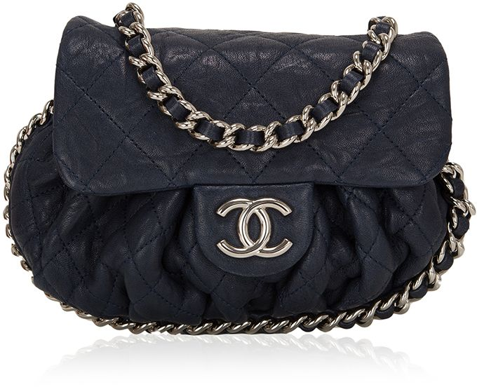 15bbb761e910 Madison Avenue Couture Chanel Navy Aged Lambskin Chain Around Mini Cross  body Messenger Bag | #Chic Only #Glamour Always