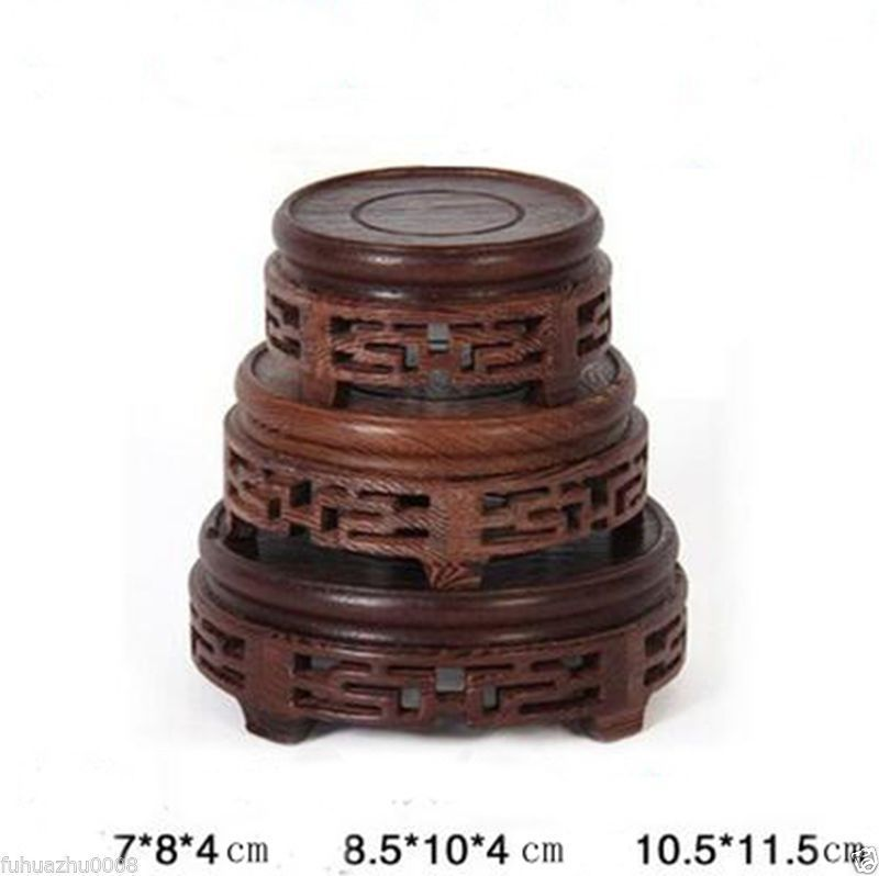 Wooden Crafted Display Round Stand Holder Easel For Statue Teapot