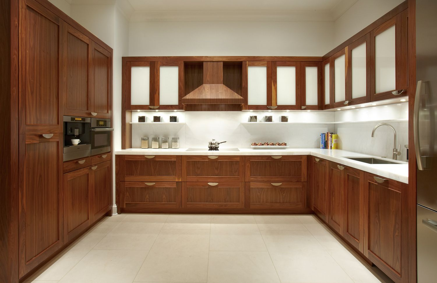 This Contemporary Kitchen Is Made Up Of Clean Lines And Simple Details Th Custom Kitchen Cabinets Design Walnut Kitchen Cabinets Contemporary Kitchen Cabinets