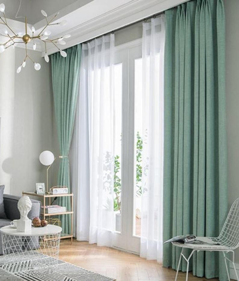 Pair Of Fresh Green Curtains Heavy Weight Curtain Linen Etsy Living Room Decor Curtains Curtains Living Room Modern Curtains Living Room