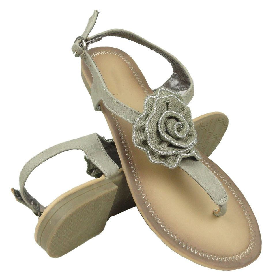2d1276a2ca8bb4 Womens Flat Knitted Flower T-Strap Thong Gray Sandals Sizes 5-10 Summer  Shoes fashion style outfit shopping footwear