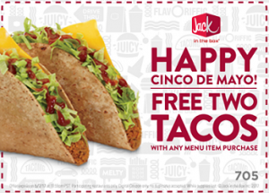 2 free tacos at jack in the box