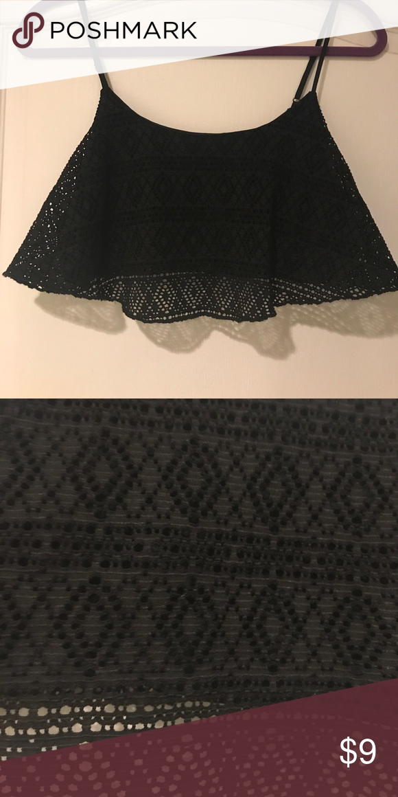 Lace crop top Black lace crop top, worn once. Bozzolo Tops Crop Tops
