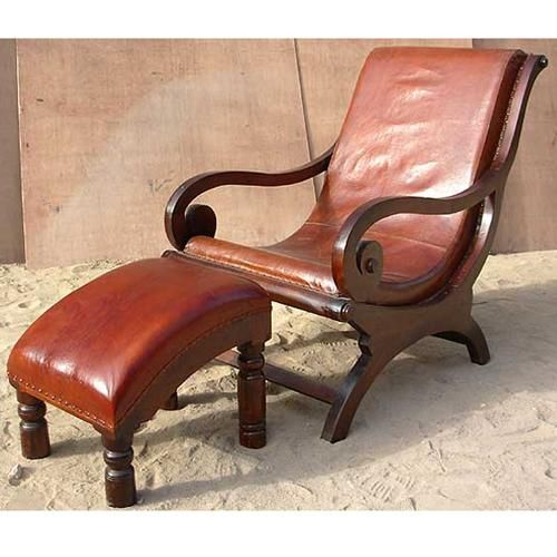 Superbe Solid Wood Leather Recliner Lounge Chair Footstool Set