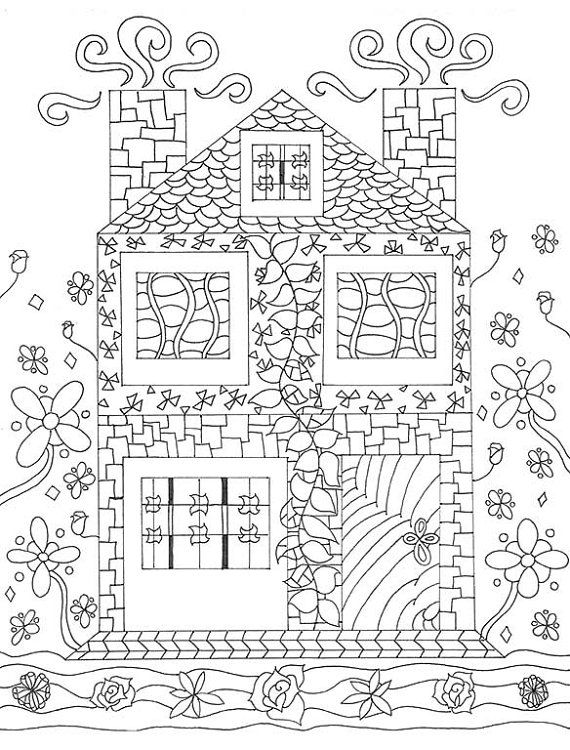 Adult Coloring Page, House Art, Digital Download