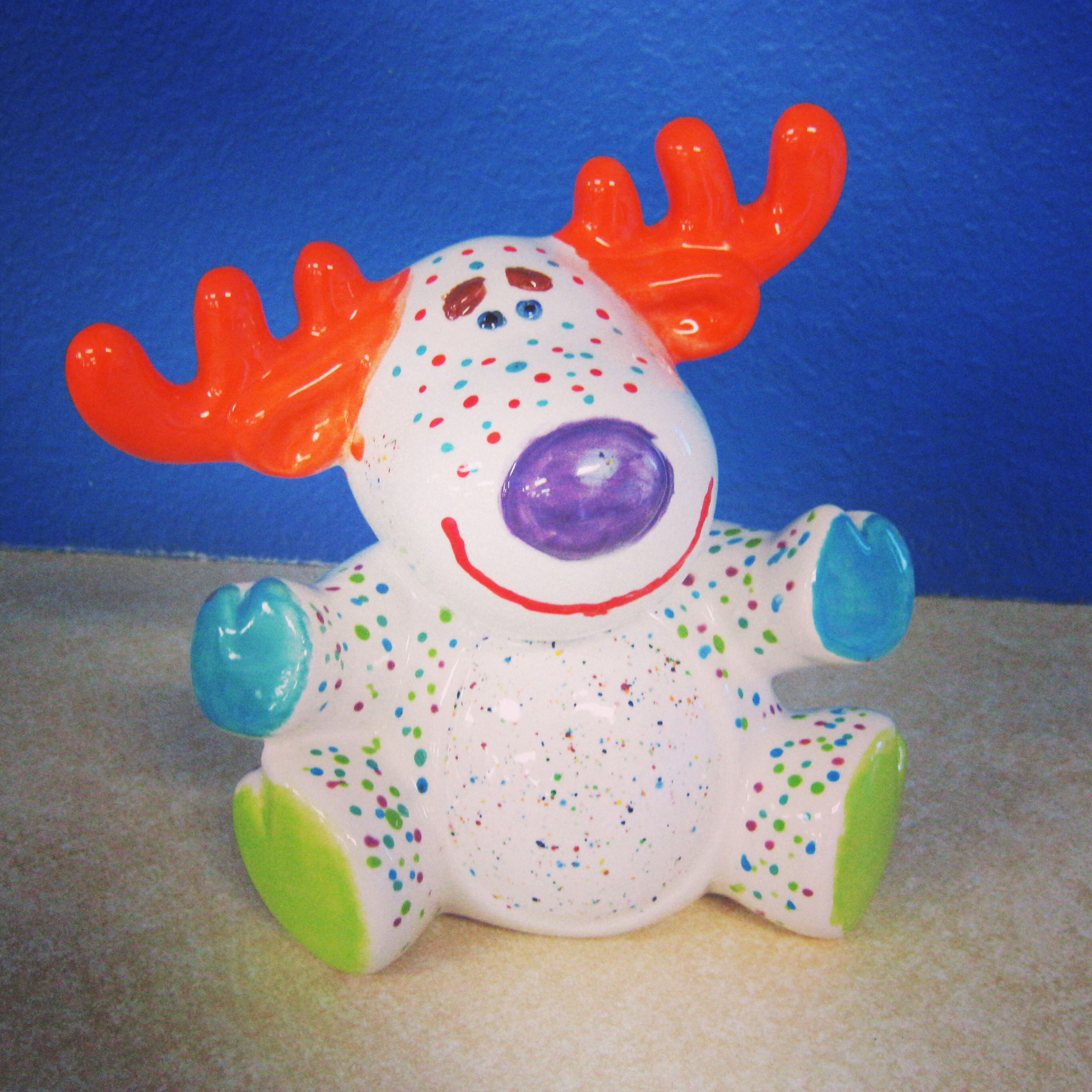 A happy reindeer! #paint #pottery