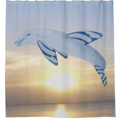 red and blue shower curtain. Photo Art Butterfin Dolphin by Kat Worth Shower Curtain  shower curtains home decor custom idea