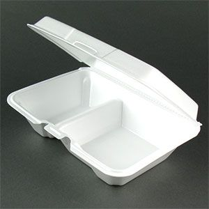 !! Dart Foam Hinged 3 Compartment Togo Boxes 200 ct. Large