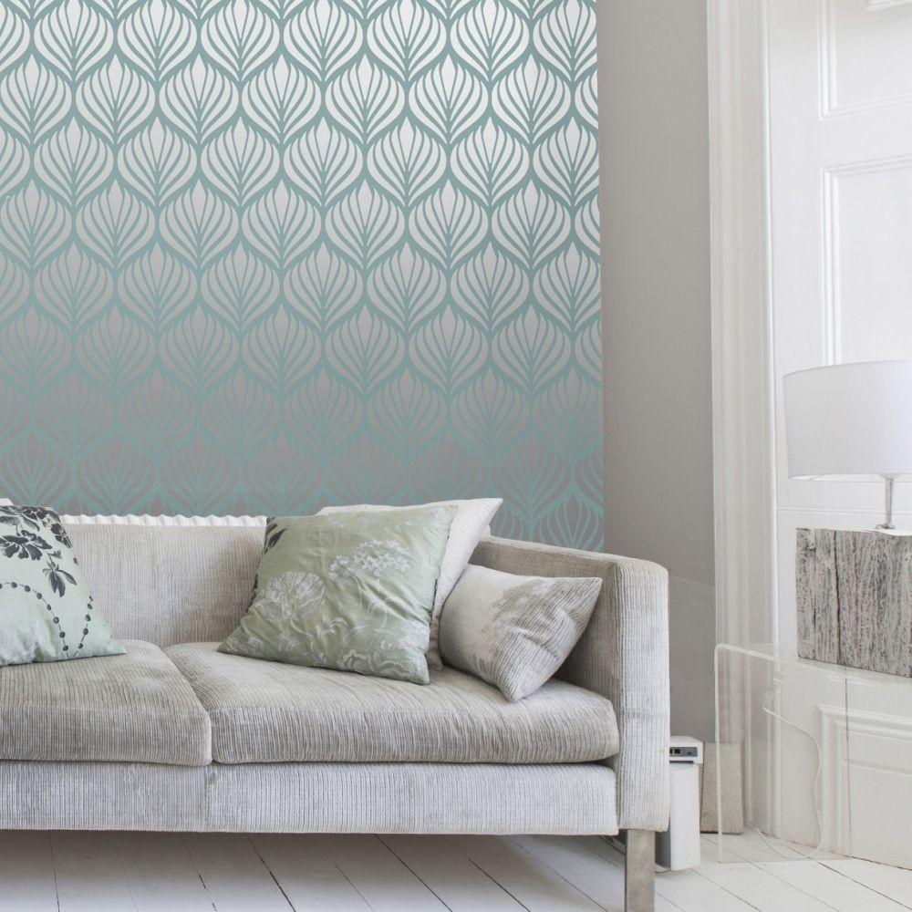 Shimmer Desire Wallpaper Teal Silver 50041 Damask Wallpaper Floral Wallpaper Bedroom Wallpaper Lounge
