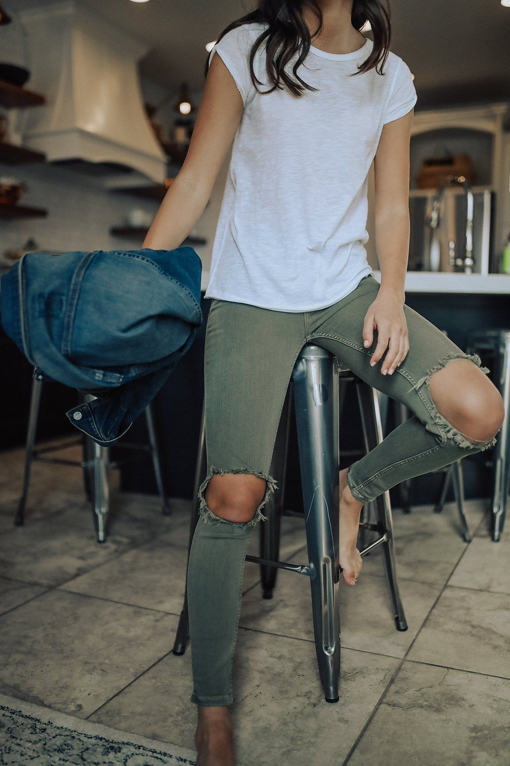 09d8bdf42 Free People High Rise Busted Skinny Jeans in Moss | |style-ish ...