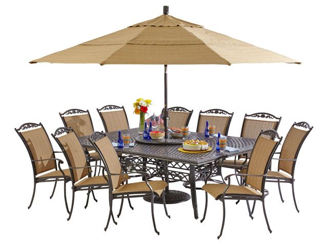 Bellagio Sling 7 Pc Dining Set With 90 X 64 Rectangular Cast Top Table Flooring Sale Dining Furniture Patio Umbrella
