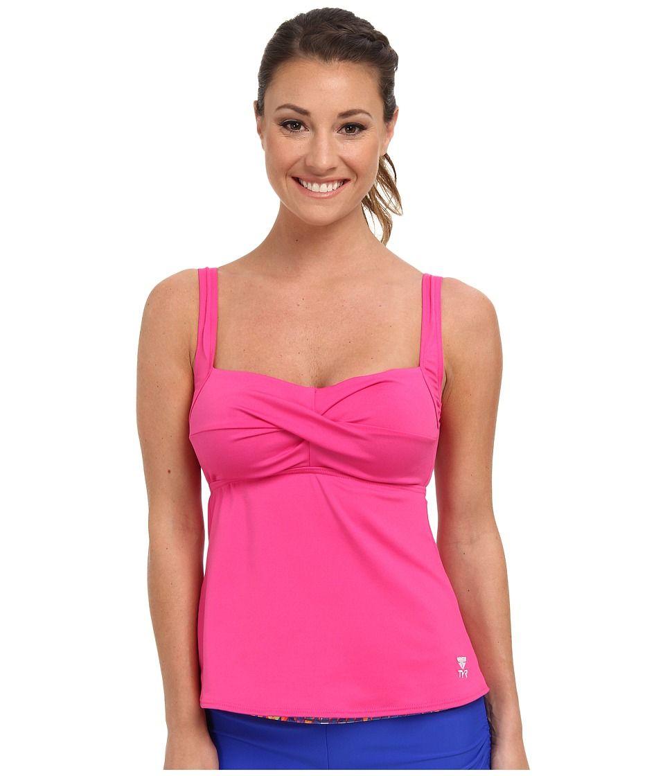dfb80960a9b2f TYR Solid Twisted Bra Tankini (Pink) Women's Swimwear | Chlorine ...