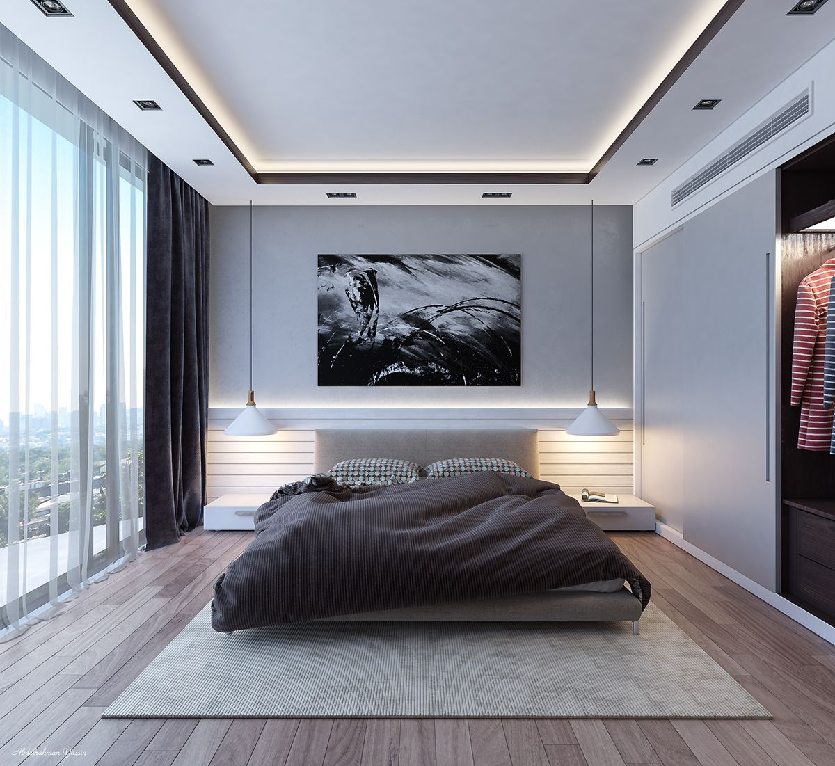 Bedroom In Contemporary Style On Behance: CONTEMPORARY BEDROOM