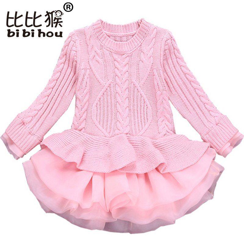 d7efbb2788a8c Bibihou Girl Winter Dress 2017 Fashion Spring Autumn Princess Girl Long  Sleeve Sweater TuTu Dress Kid Christmas Dresses For Girl - Buy it Now!
