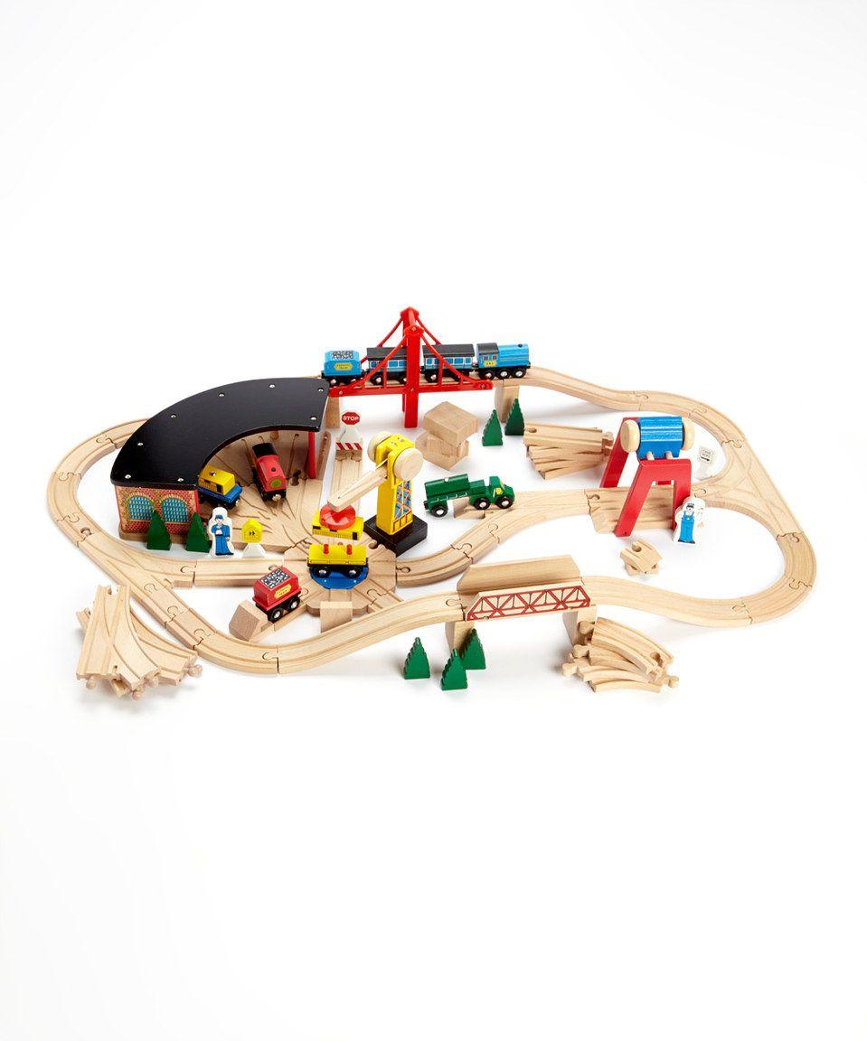 Love this Wooden Railway Set by Melissa & Doug on #zulily! #zulilyfinds