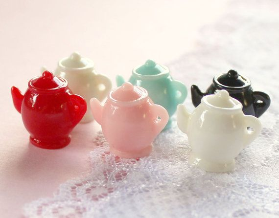6 Pcs Assorted 3D Teapot Cabochons - 18x16mm