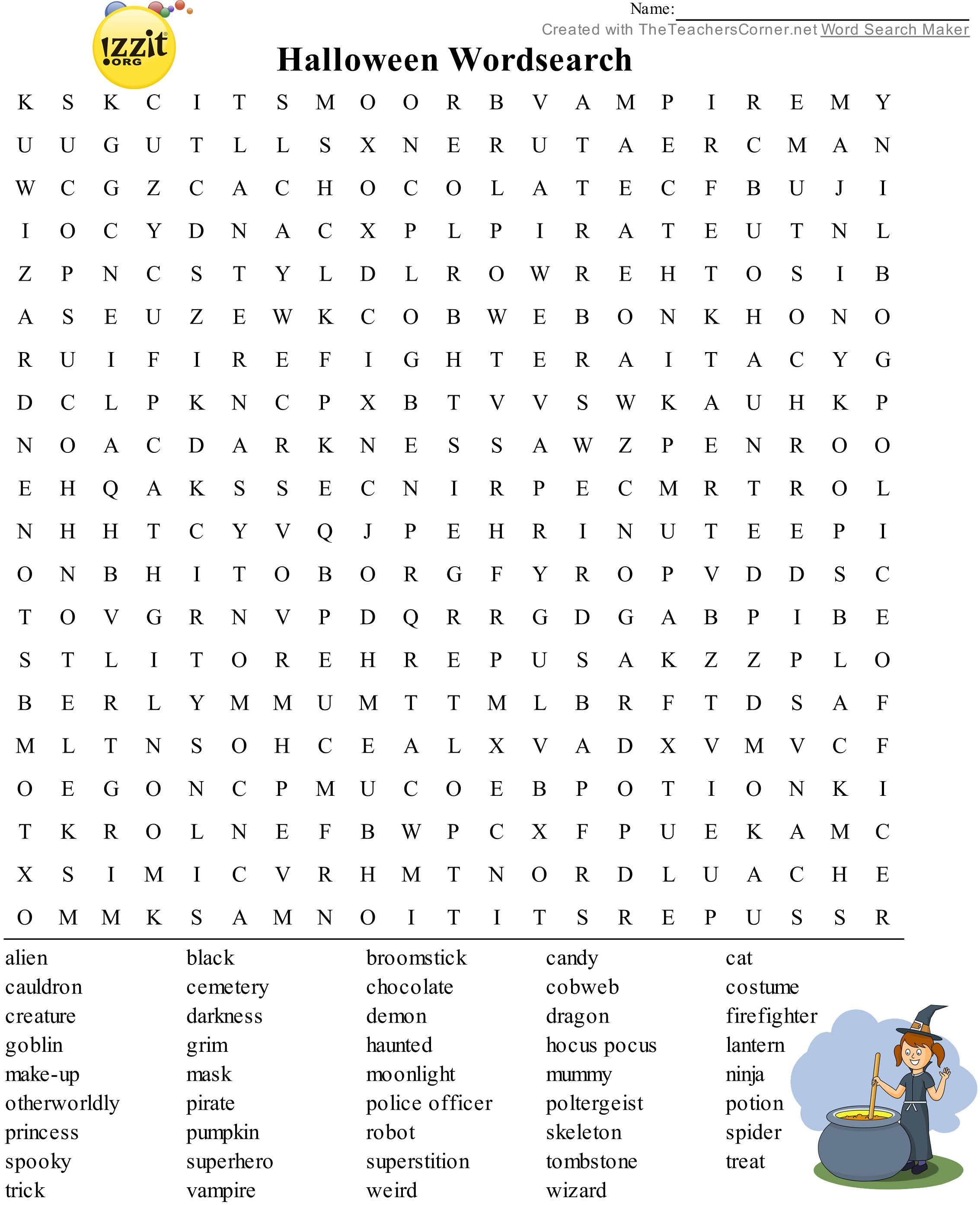 Halloween Word Search  Hard HappyHalloween  Classroom