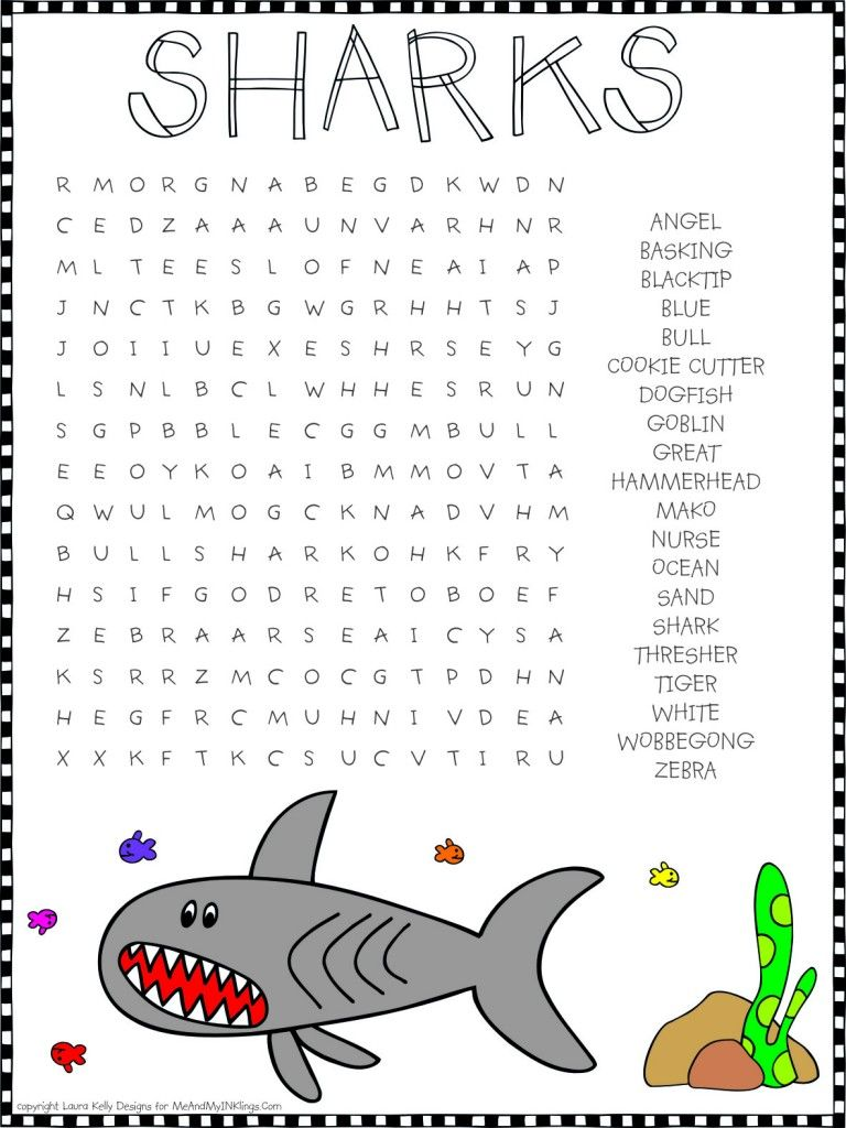 Shark Week Word Search Puzzle Shark Activities Shark Week Kids Shark Week [ 1024 x 768 Pixel ]