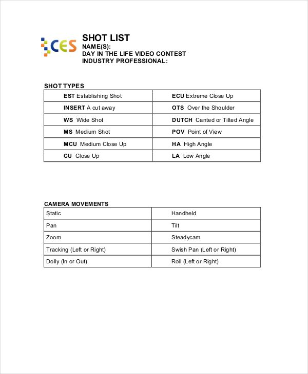 Simple Shot List Template , Essential Elements to Be Involved in - shot list template