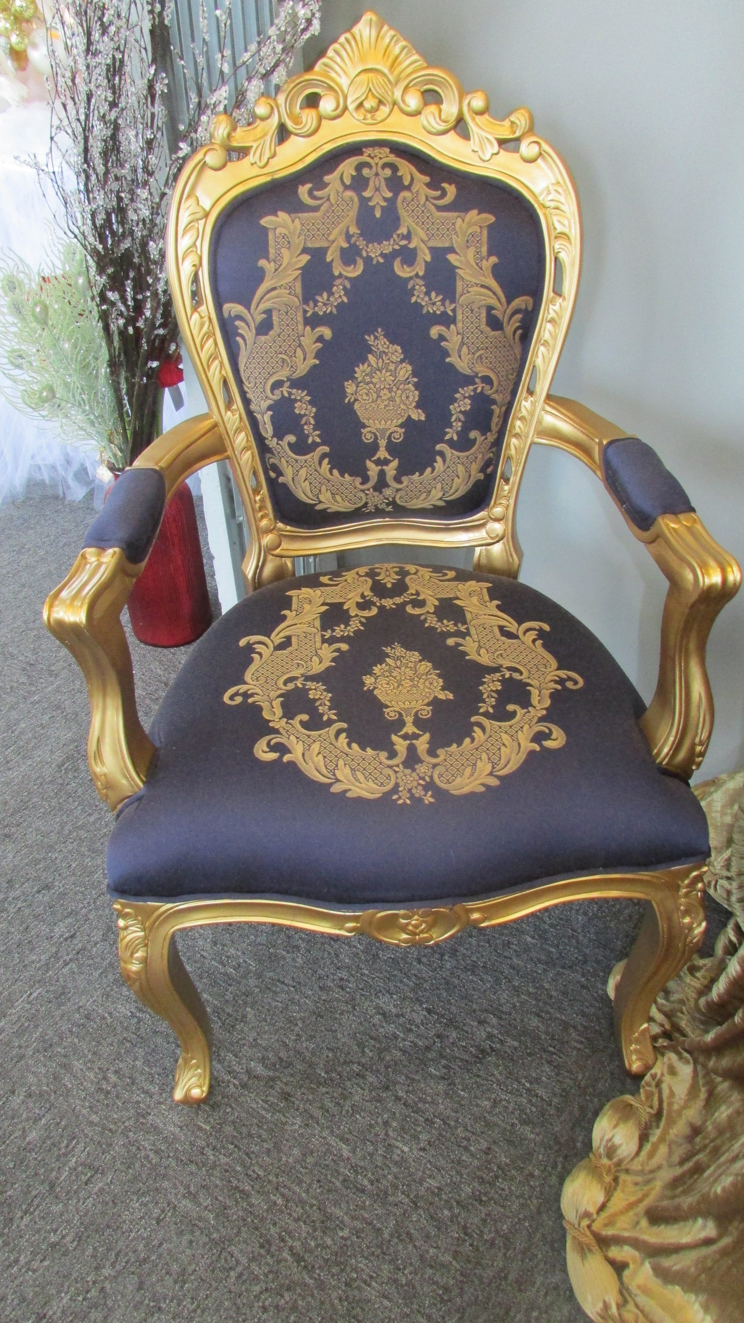 Royal blue silk louis xv french reproduction accent chairs