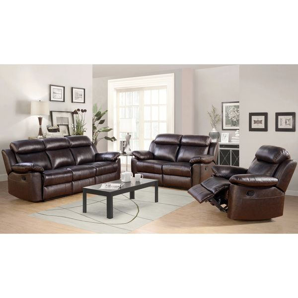 Abbyson Living Thompson 3piece Top Grain Leather Reclining Sofa