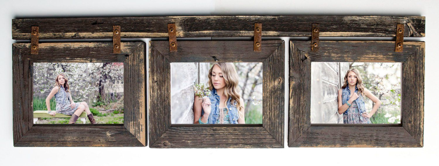 Barnwood Collage Frame 3 Hole 5x7 Multi Opening Rustic Picture Reclaimed Landscape Or Portrait