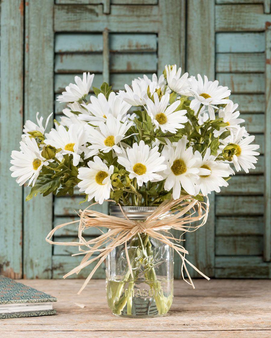 Farmhouse daisiessilk flower arrangement daisy flower
