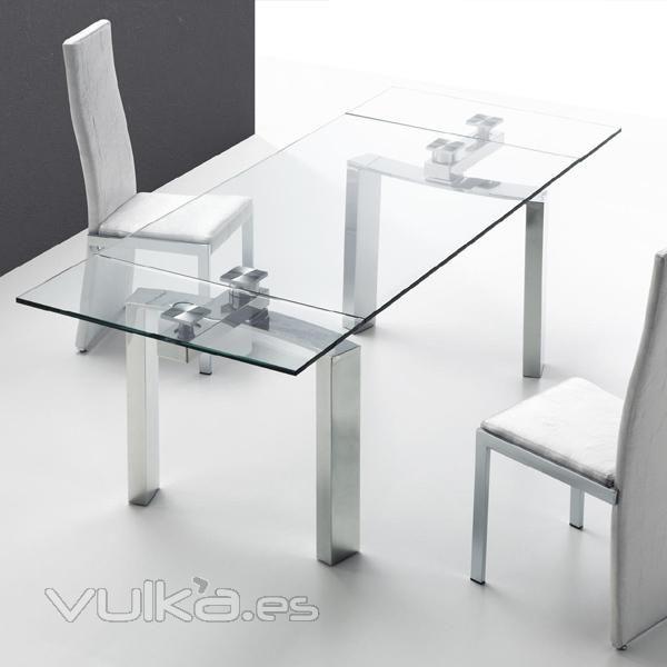 mesa de comedor cristal y acero