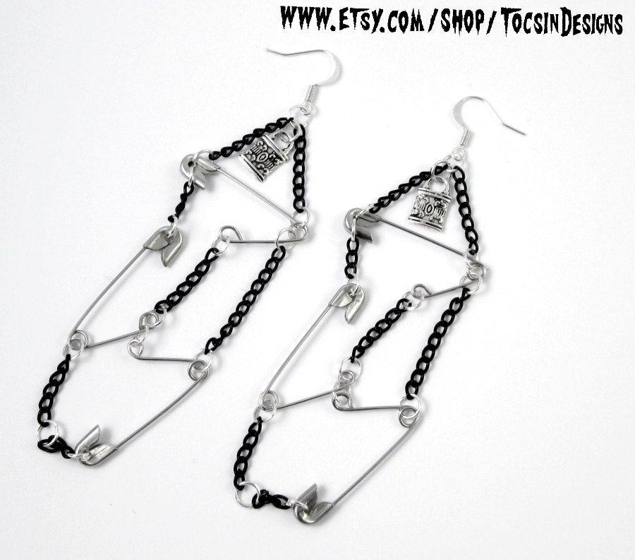 Safety Pin Earrings Diy Punk Rock Jewelry Earring Goth 77 Psychobilly N Roll