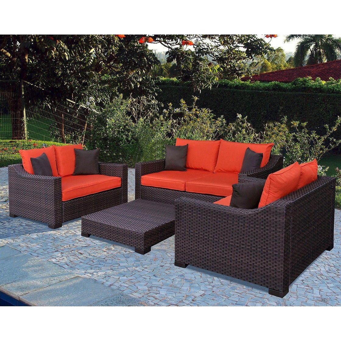 Beautiful Atlantic Furniture New Orleans 4 Piece Wicker Patio Conversation Furniture  Set