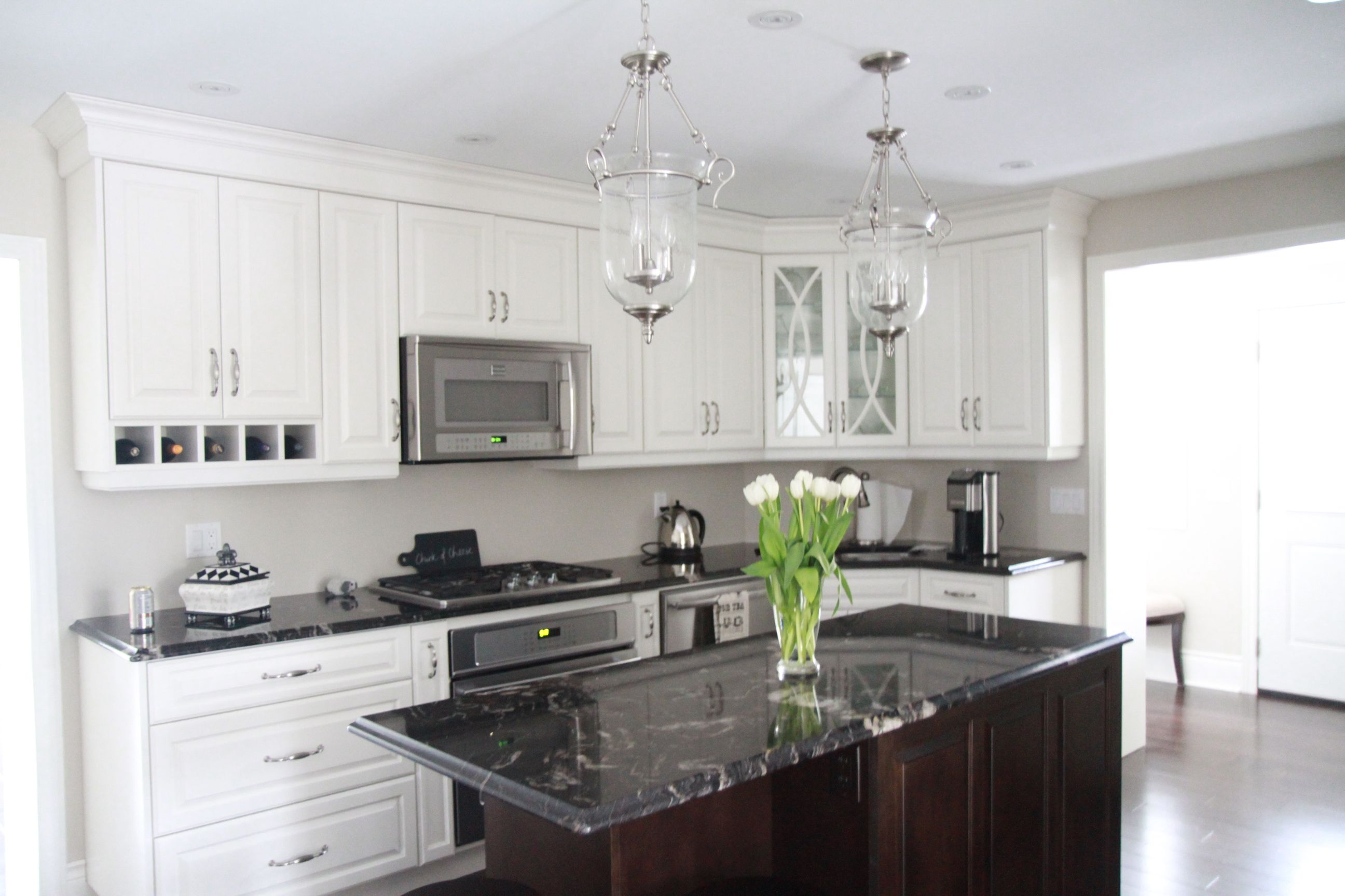White custom kitchen with titanium granite counters | Our house ...