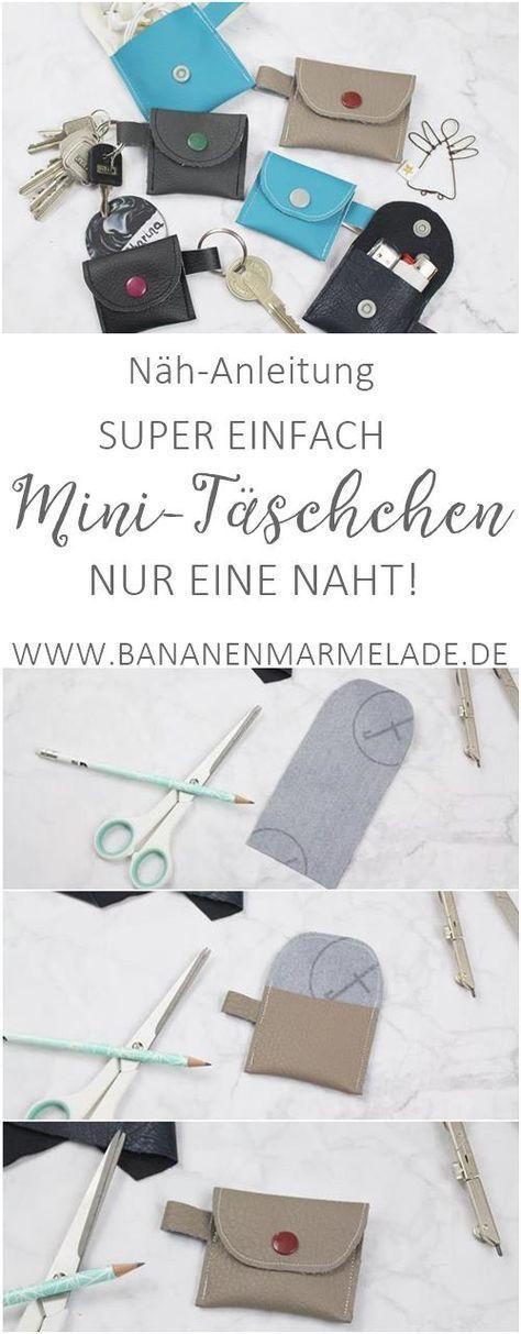 {Nähen} Einfaches Mini-Täschchen aus Lederresten - mit nur einer Naht! - BANANENMARMELADE #strickenundnähen