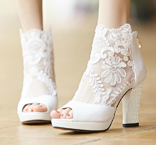 7a6e56f462d2 New Fashion Summer Wedding Boots 9.5cm High Heels Sexy White Sheer ...