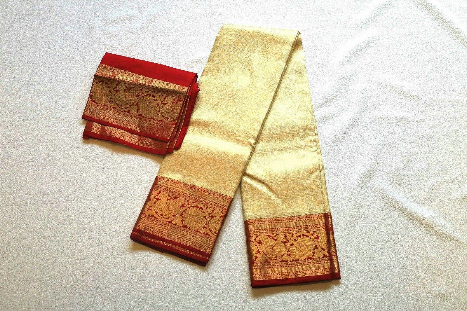 Maroon silk saree off white kanchipuram wedding silk saree with contrast maroon border