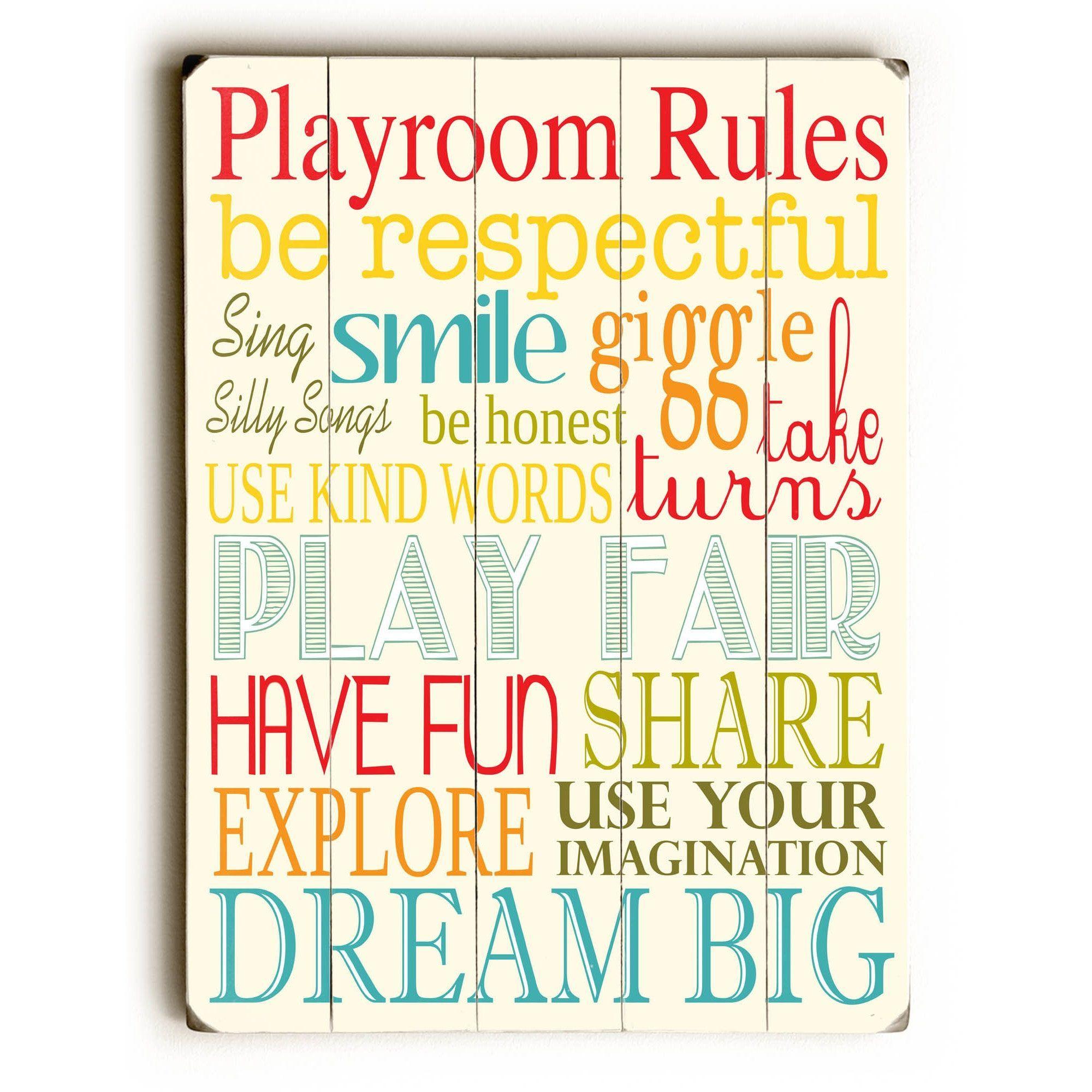 One Bella Casa Playroom Rules  Wall Decor By Finny