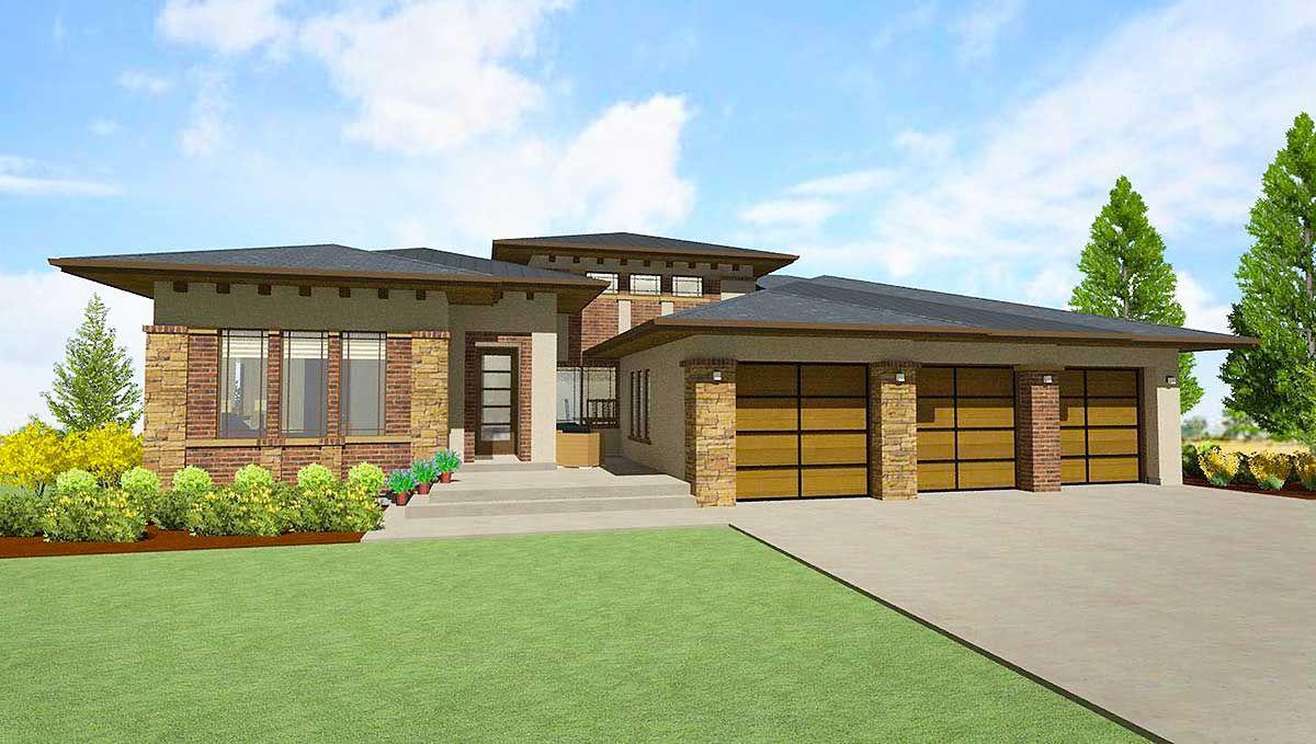 Plan 64421SC: Modern Prairie House Plan for a Rear Sloping Lot ...
