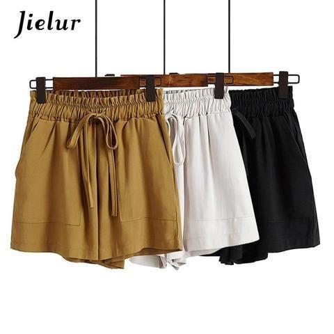 abe96406abdd Jielur Casual Comfortable Pockets High Waist Shorts Black Slim Loose Shorts  Women Summer Lace-up Harajuku Shorts Female Dropship