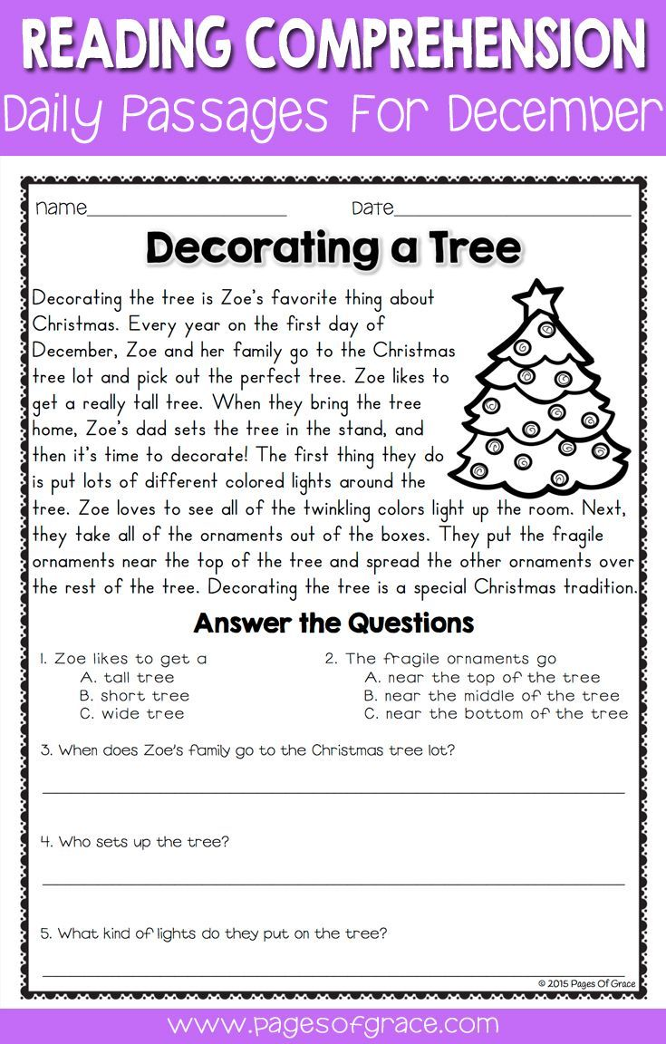- Reading Comprehension Passages And Questions For December