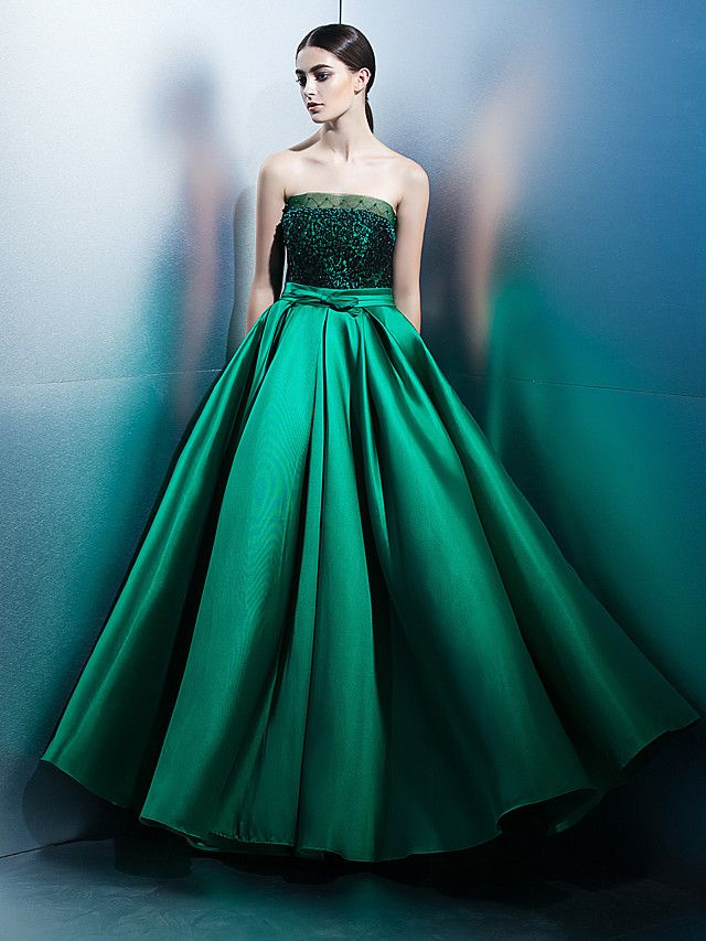 A-Line Strapless Floor Length Lace Satin Prom Formal Evening Dress ...