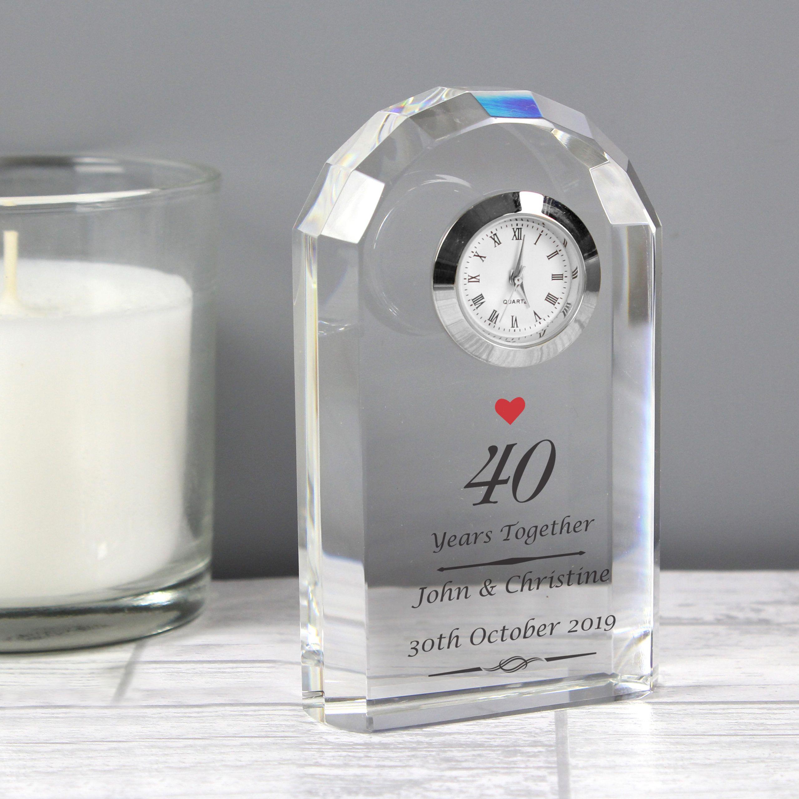 Ruby Anniversary Crystal Clock at 50th anniversary gifts
