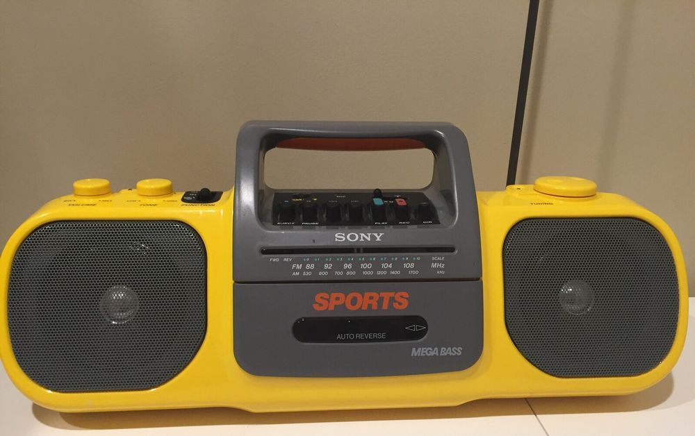 Vintage Sony Yellow Radio Cassette Tape Player Mega Bass Boom Box Ghetto Blaster | eBay